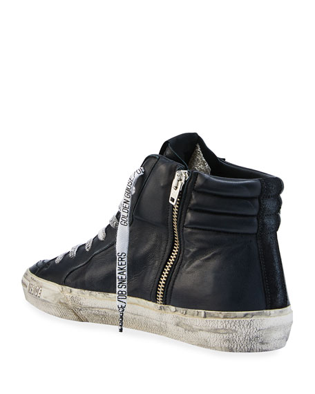 Image 4 of 4: Golden Goose Men's Slide Vintage Star Leather Mid-Top Sneakers with Logo Laces