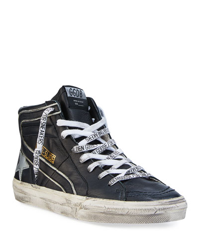 Men's Slide Vintage Star Leather Mid-Top Sneakers with Logo Laces