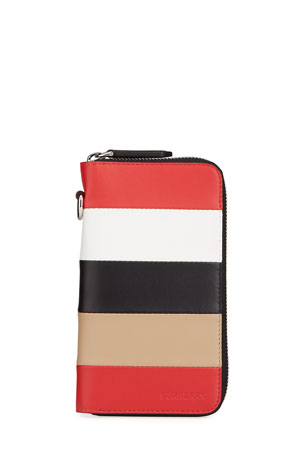 Burberry Men's Colorblock Leather Zip Travel Wallet