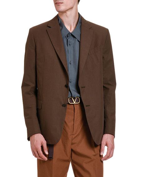 Image 3 of 3: Valentino Men's Solid Twill Two-Button Jacket