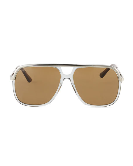 Image 2 of 3: Gucci Men's Metal Aviator Sunglasses