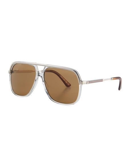 Image 1 of 3: Gucci Men's Metal Aviator Sunglasses
