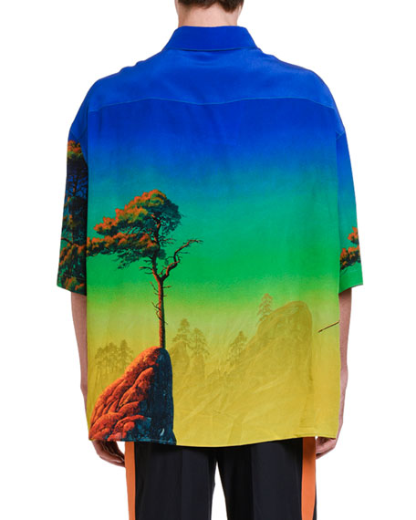Image 2 of 3: Valentino Men's Dragons At Dawn Silk Short-Sleeve Sport Shirt