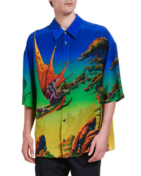 Image 1 of 3: Valentino Men's Dragons At Dawn Silk Short-Sleeve Sport Shirt