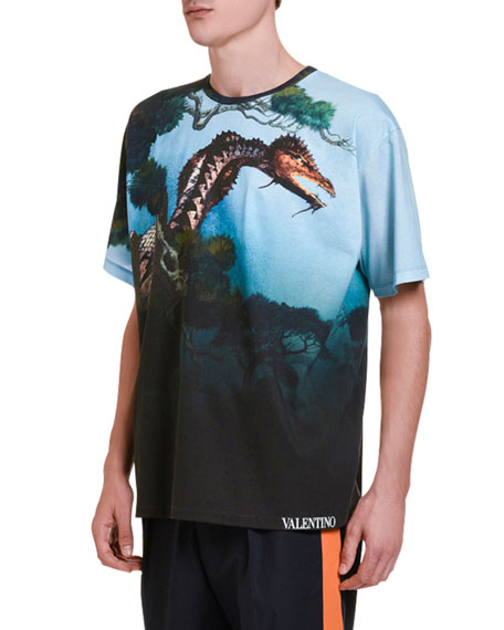 Image 2 of 2: Valentino Men's Dragons' Garden Graphic T-Shirt