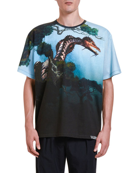 Image 1 of 2: Valentino Men's Dragons' Garden Graphic T-Shirt