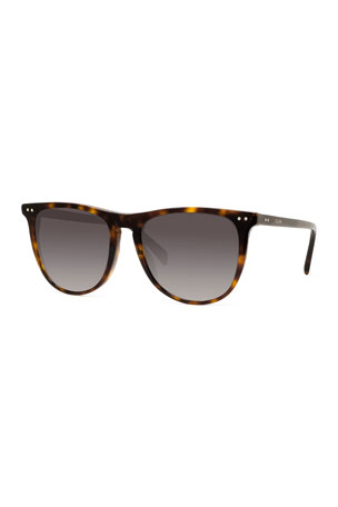 Celine Men's Polarized Round Solid Acetate Sunglasses