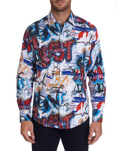 Men's Pichacao Graffiti-Print Sport Shirt