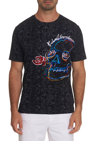 Robert Graham Men's Geometer Embroidered-Skull T-Shirt