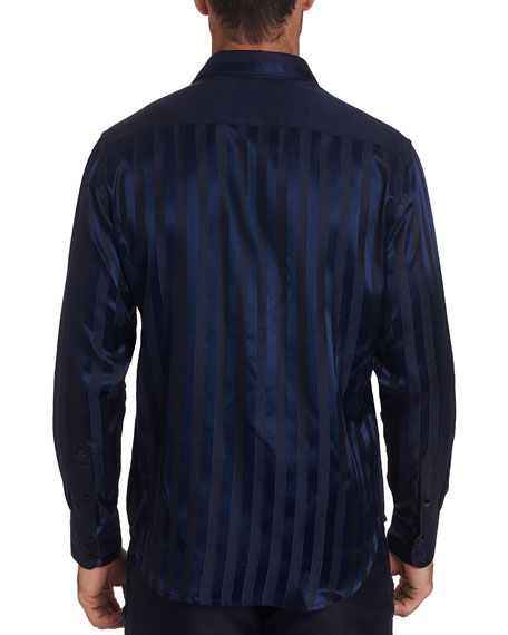 Robert Graham Men's Opera Blue Satin-Stripe Sport Shirt