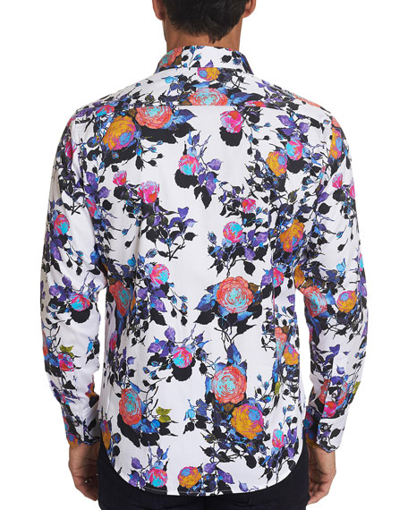 Robert Graham Men's Front Runner Rose-Print Sport Shirt