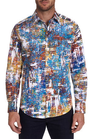 Robert Graham Men's Axle Cubist-Print T-Shirt