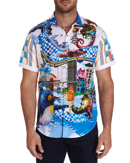 Robert Graham Men's Grand Paul Abstract Creatures Sport Shirt