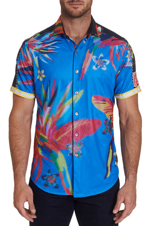 Robert Graham Men's Birds Paradise Mesh Crystal Blur Sport Shirt