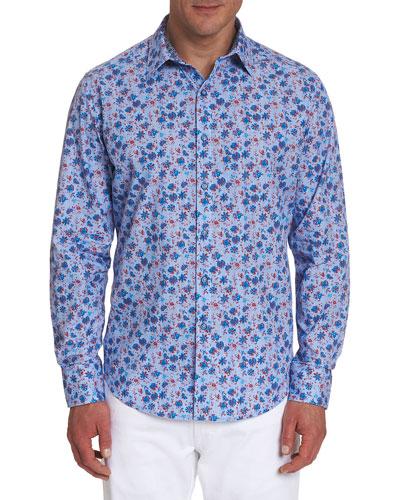 Men's Finish Line Floral Woodblock Sport Shirt