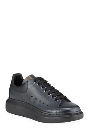 Alexander McQueen Men's Mixed-Media Clear Oversized Sneakers
