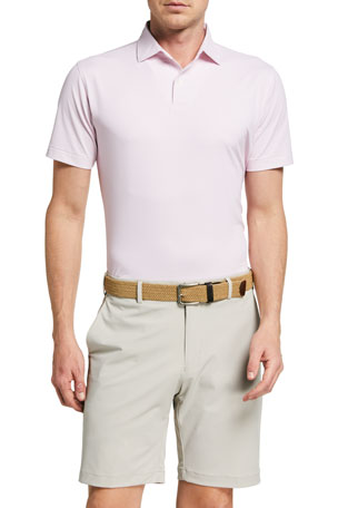 Peter Millar Men's Gibson Tour Fit Neat-Print Jersey Polo Shirt
