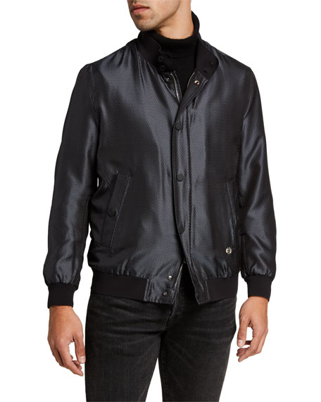 Image 2 of 3: Stefano Ricci Men's Silk Snap-Front Bomber Jacket