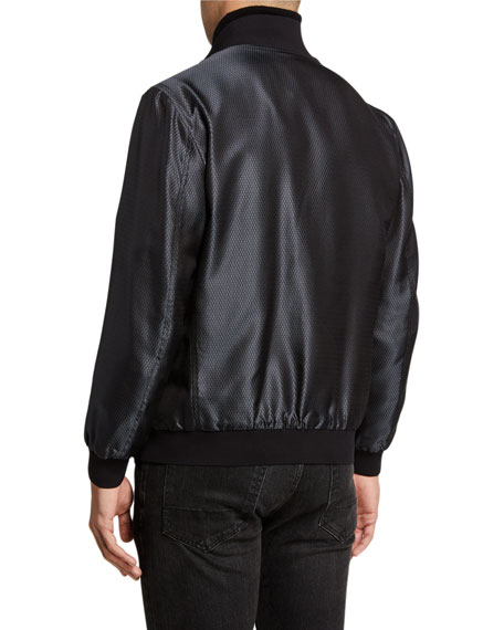 Image 3 of 3: Stefano Ricci Men's Silk Snap-Front Bomber Jacket