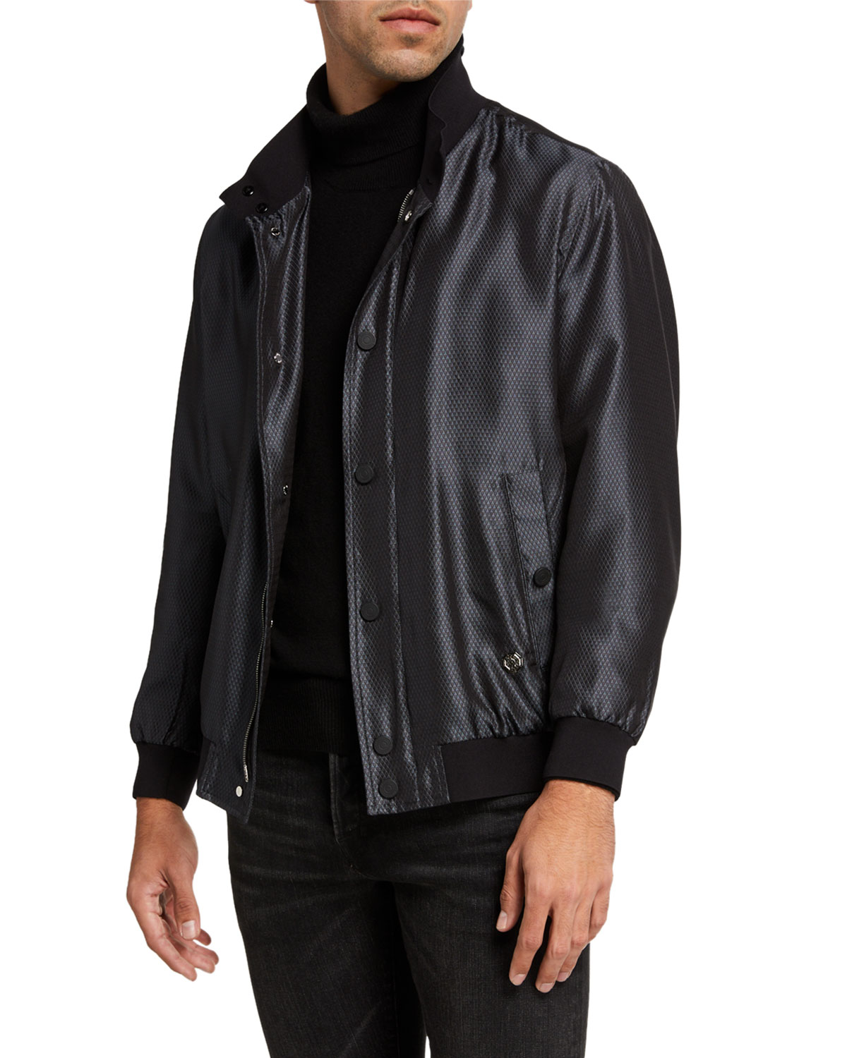 Stefano Ricci Men's Silk Snap-Front Bomber Jacket in Black