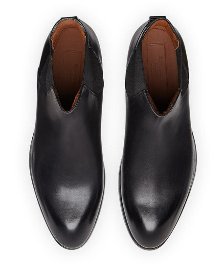 Image 2 of 4: Ermenegildo Zegna Men's Vienna Solid Leather Chelsea Boots