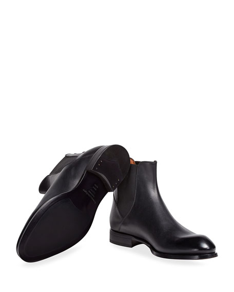 Image 1 of 4: Ermenegildo Zegna Men's Vienna Solid Leather Chelsea Boots