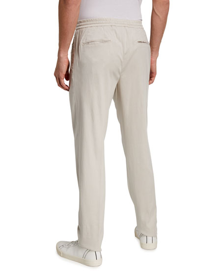Marco Pescarolo Men's Micro-Texture Eucalyptus Yarn Pleated Pants