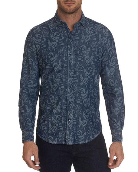 Robert Graham Men's Waynes Floral Chambray Sport Shirt