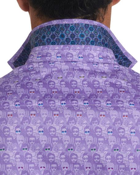 Robert Graham Men's The Fans Crowd-Print Sport Shirt