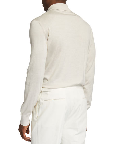 Image 2 of 2: Ermenegildo Zegna Men's Long-Sleeve Cashmere-Silk Polo Shirt