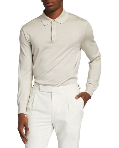 Image 1 of 2: Ermenegildo Zegna Men's Long-Sleeve Cashmere-Silk Polo Shirt