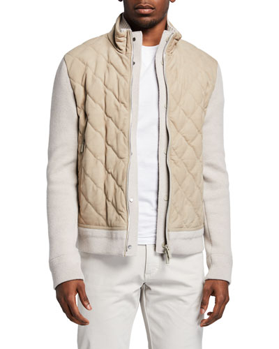 Ermenegildo Zegna Men's Sweater Jacket w/ Quilted Nubuck Front