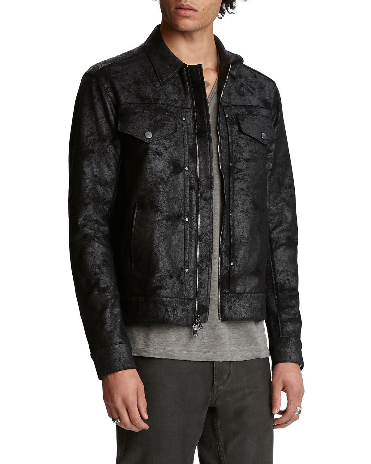 John Varvatos Men's Slim-Fit Distressed Trucker Jacket