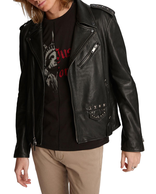 John Varvatos Star USA Misfits Sheepskin Biker Jacket w/ Skull Graphic on back