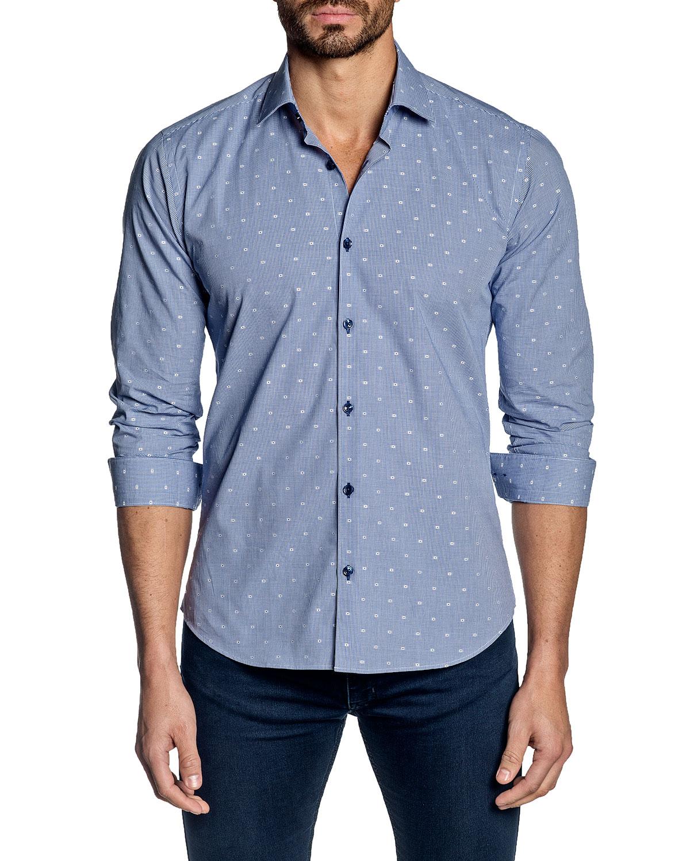Jared Lang Men's Long-Sleeve Dot-Print Sport Shirt