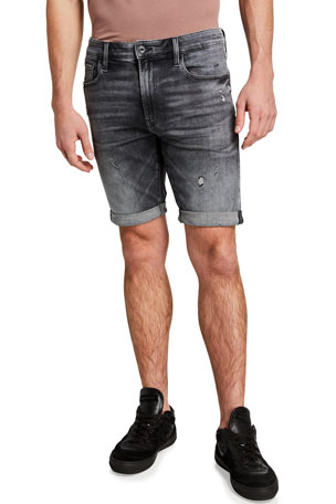 G-Star Men's 3301 Slim Distressed Denim Shorts w/ Rolled Cuffs