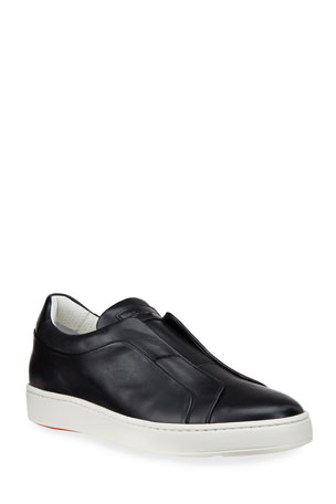 Santoni Men's Pass Smooth Leather Slip-On Sneakers