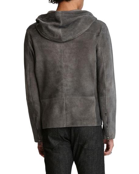 John Varvatos Men's Sheepskin Zip-Front Hooded Jacket