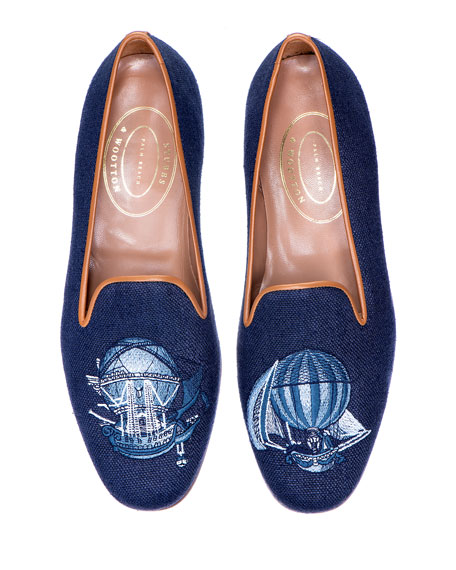 Stubbs and Wootton Men's Ballooning Embroidered Linen Smoking Loafers