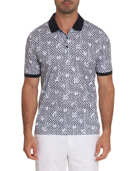 Image 1 of 3: Men's Trophy-Print Jersey Knit Polo Shirt