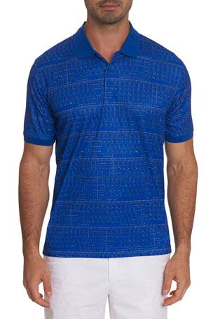Robert Graham Mens Sky Blue Classic Fit Mesh Polo Shirt