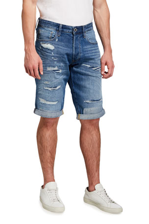 G-Star Men's 3301 Faded Ripped Denim Shorts