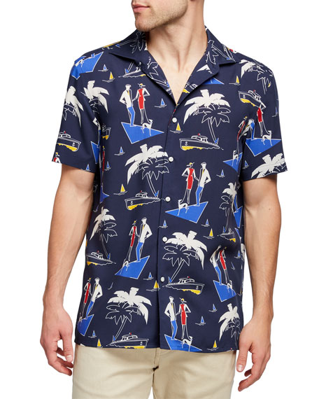 Image 1 of 2: Ralph Lauren Purple Label Men's Capri Riviera-Print Camp Shirt