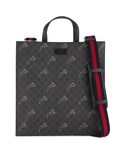 Men's Soft GG Supreme Tiger-Print Tote Bag
