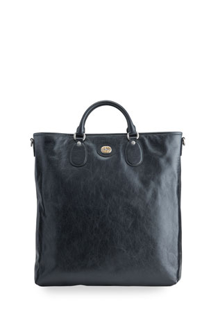 Gucci Men's Soft Leather Tote Bag with Interlocking G