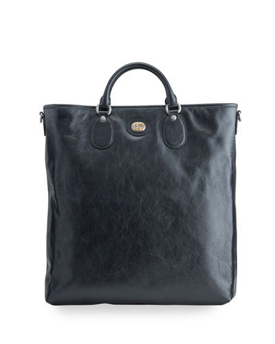 Men's Soft Leather Tote Bag with Interlocking G