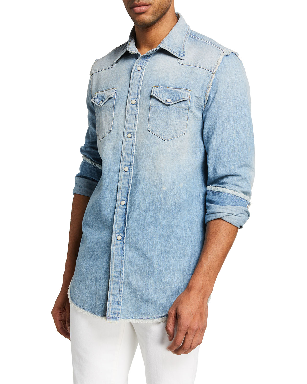R13 Men's Cowboy Shredded-Seam Denim Western Shirt
