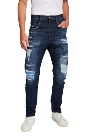 R13 Men's Cooper Distressed Drop-Crotch Jeans
