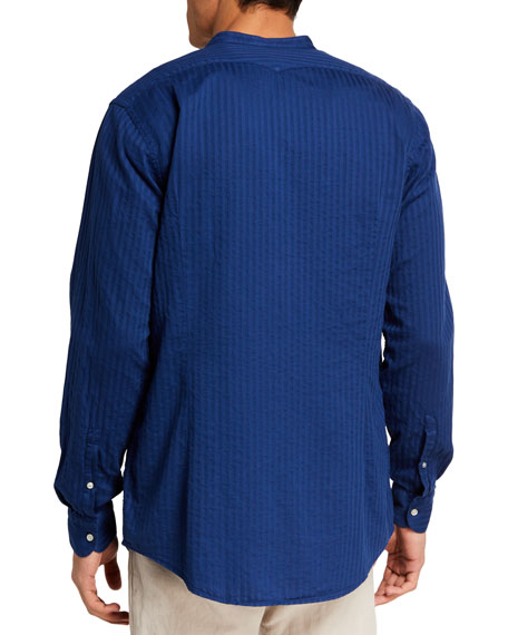 Image 2 of 2: Massimo Alba Men's Banded-Collar Striped Sport Shirt