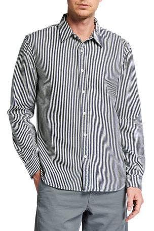 7 for all mankind Men's Calico Striped Sport Shirt